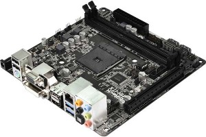 ASRock AM1H-ITX with CPU socket is powered by AM1 ATX power supply or adapter for 19 V